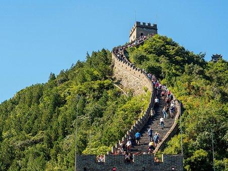 Great Wall Of China, Mountain, Green, Trees, China