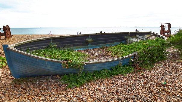 Boat, Sea, Brighton, England, Ocean, Water, Flowers
