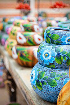 Pottery, Pots, Painted, Turquoise, Ceramic, Clay