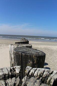 Ameland, Hollum, Beach, Sea, Piles