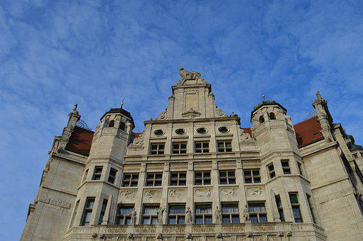 Town Hall, Leipzig, Blue, Sky, Places Of Interest