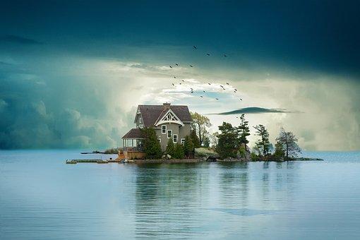 Landscape, Sky, Clouds, Cabin, Lake, Reflection
