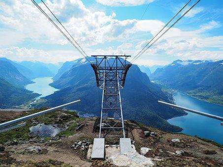 Lift, Loen, Skylift, Fjord, Mountain, Norway, Nature