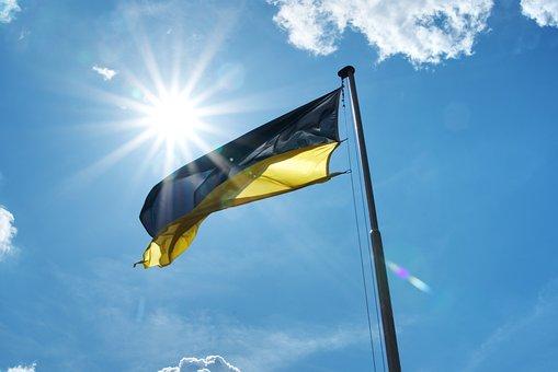 Flag, Sky, Blue, Clouds, Palatinate, Black, Yellow, Sun