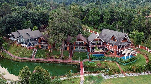 Villa, Pond, Water, Architecture, Resort, Vacation