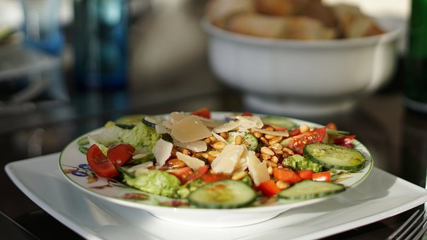 Salad, Background, Pattern, Healthy, Plate, Bowl, Bread