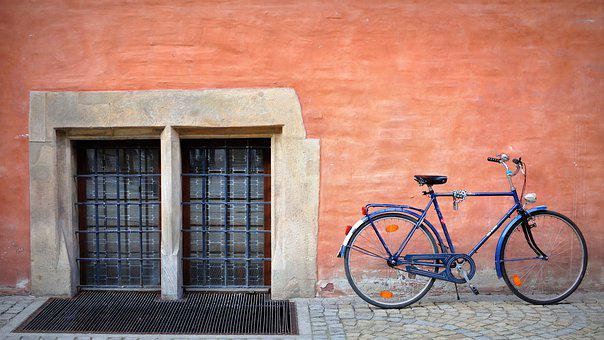 Bike, Blue, Wall, Cycling, Bicycle, Retro, City