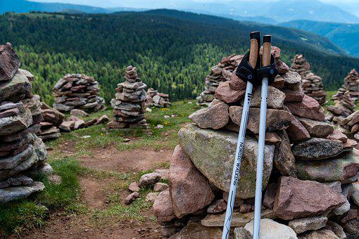 Summit, Stones, Cairn, Hiking, Hiking Poles