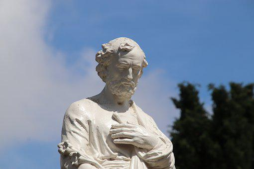 Sculpture, White Stone, Cemetery, Religion