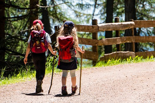 Children, Girl, Hiking, Walking Stick, Backpack, Trail