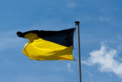 Flag, Sky, Wind, Cloud, Stripes, Black, Yellow