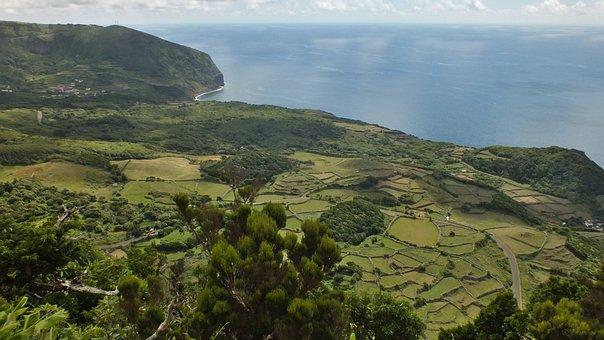 Azores, Landscape, Flores, Meadows, Sea, Coastline