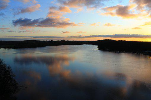 Bad Segeberg, Lake, Water, Clouds, Sunset, Color, Blue