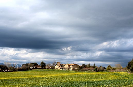 Field, Storm, Clouds, Landscape, Sky, Rural, Nature
