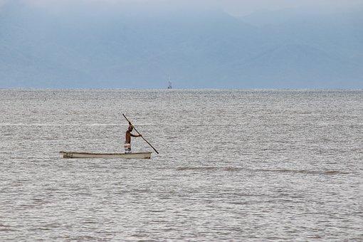 Canoe, Fishing, Sea, Beach, Rowing