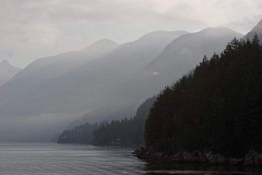 Mountains, Fog, Landscape, Nature, Forest, Sky, Clouds