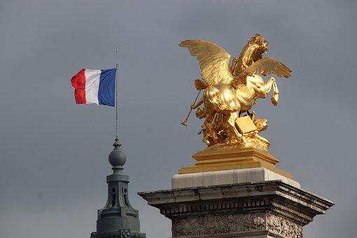 Flag, France, Monument, Paris, Sculpture, Gilded Bronze