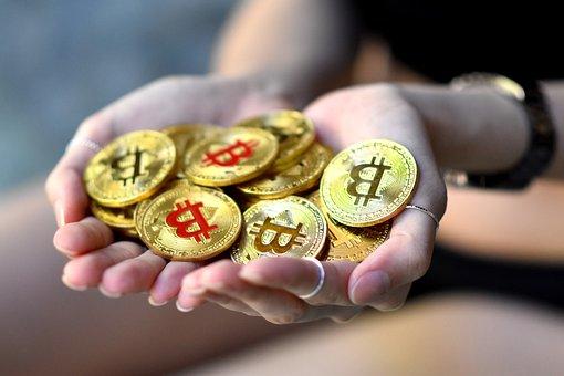 Hands, Holding, Bitcoin, Gold, Btc, Blockchain