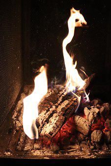 Fire, Chocolate Yule Log, Hot, Dark, Ember, Night