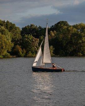 Small Boat, Single Crew Boat, Man In Boat, Boat, Lake