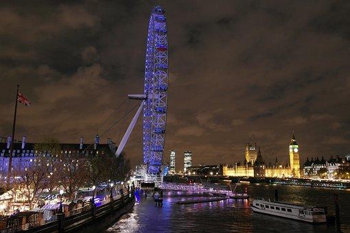 London, London Eye, Night, Attraction, Landmark, City