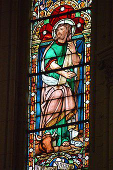 Stained Glass, Colorful, Man, Saint, Luke, Beef