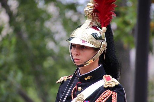 Republican Guard, Paris, France, Young Woman, Military