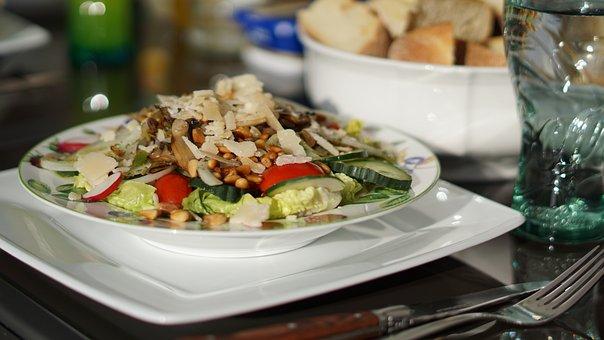 Salad, Plate, Dinner, Eat, Delicious, Fork