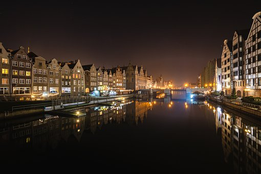 Gdansk, River, Canal, Poland, City At Night