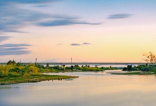 Sky, River, Water, Outdoors, Summer, Sunset, Bridge