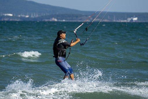 Kitesurf, Surf, Sea, Waves, Ocean, Bay, Windy, Extreme