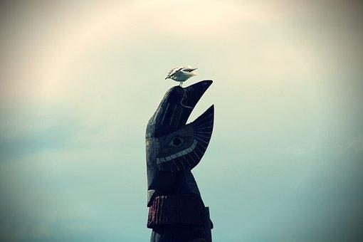 Seagull, Statue, Indians, Canada, Vancouver Island, Sea
