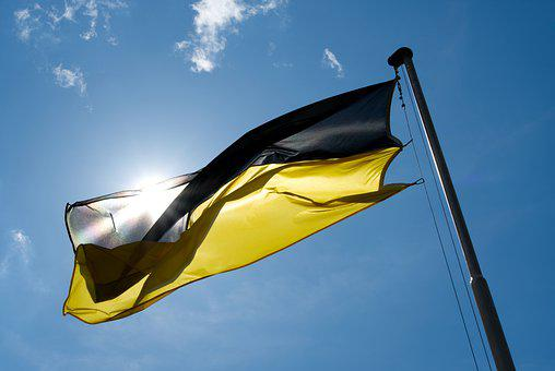 Flag, Sky, Wind, Clouds, Stripes, Palatinate, Black