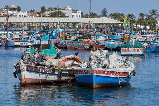 Fishing Boats, Pisco, Spring, Sea, Costa, Peru
