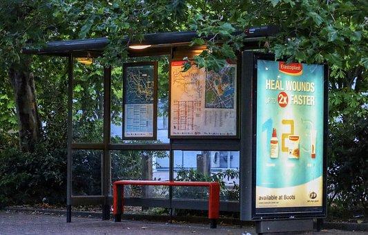 Bus Stop, Public, Transportation, Urban, London, Street