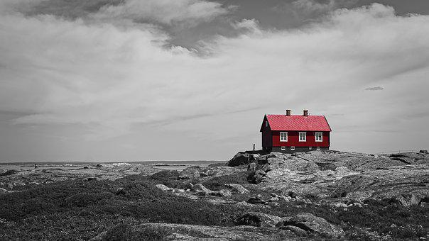 Red, Cottage, Archipelago, Sweden, Scandinavia