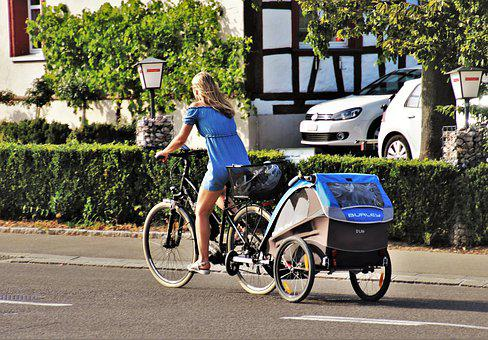 Cycling, Trailer, Bike, Traffic, From, Asphalt, Cycle