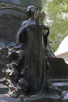 Sculpture, Stone, Statue, Cemetery, Woman, Apparel