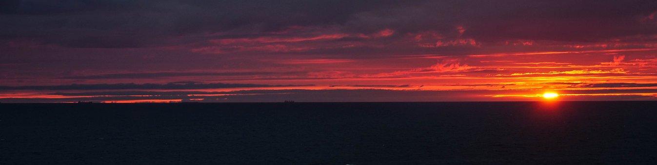 Baltic Sea, Sunrise, Sea, Water, Clouds, Mood, Sky