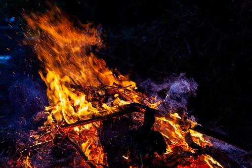 Burning At Night, Burning, Fire, Blaze, Burning Wood