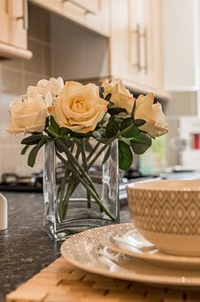 Roses, Decoration, Plate, Bawl, Interior, Property