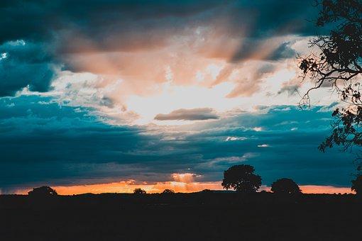 Dawn, Farm, Agriculture, Sky, Summer, Nature, Field