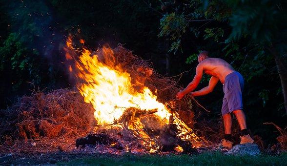 Man Makes Fire, Man Attends Fire, Man With Fire, Fire