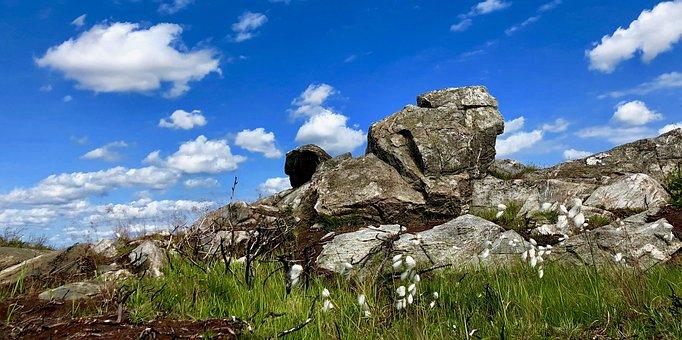 Blue Sky, Fluffy Clouds, Rocks, Grass, Landscape