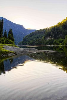Lake, Mountain, Forest, Morning, Dawn, Outdoors, Nature