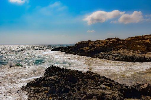 Rocky Coast, Sea, Sky, Clouds, Scenery, Horizon, Nature