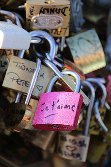 Padlock, Love, Bridge, Paris, I Love You, Heart