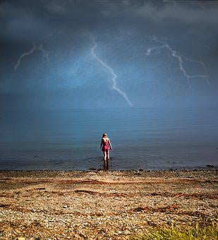 Storm, In, Norway, North, Lightning, Girl, Dress