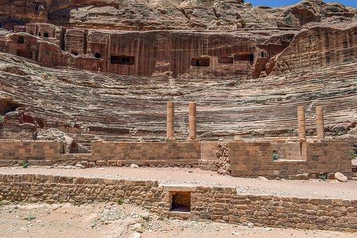 Petra, Jordan, Theatre, Stone, Desert, History, Canyon