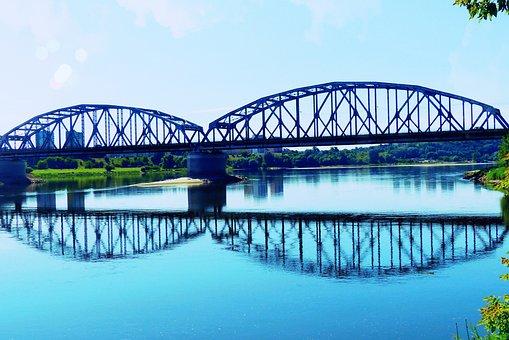 Landscape, River, Wisla, Grudziadz, Poland, Bridge